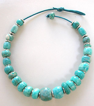 Hand Sculpted amazonite bead necklace