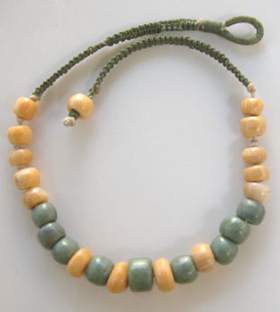 Hand Sculpted petrified wood and jade bead necklace