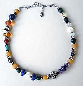 Mixed gemstone necklace by Vicky Jousan