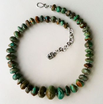 Chinese Turquoise Briolet beads and Sterling Silver Choker Necklace